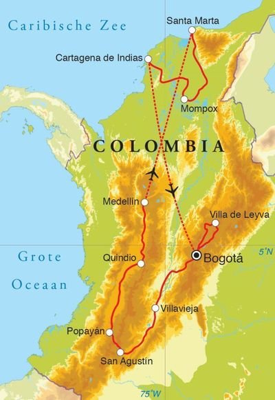 Routekaart Rondreis Colombia, 21 dagen
