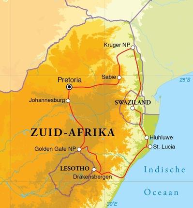 4ae20b83008d3c Routekaart Rondreis Zuid-Afrika noord & Swaziland, 15 dagen