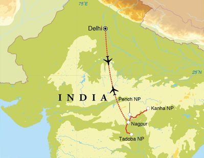 Routekaart Safarireis India, 9 dagen